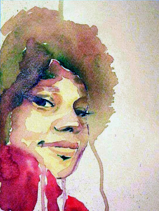 watercolor portrait of black woman with afro
