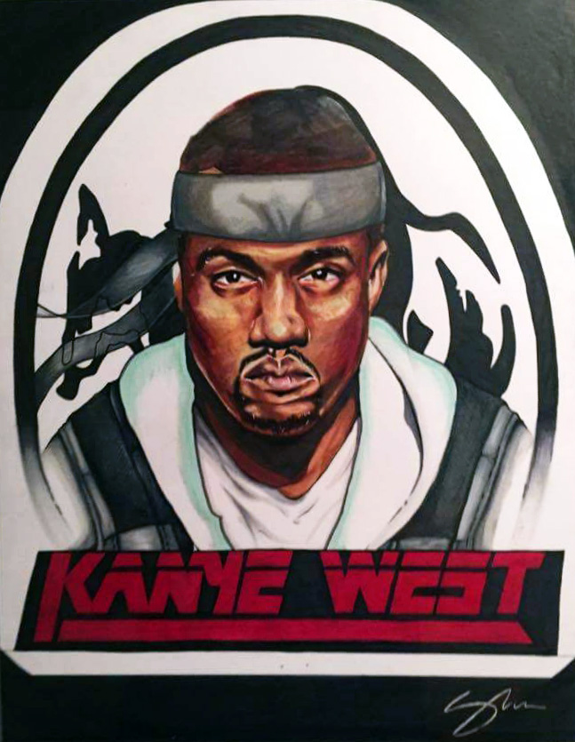marker portrait of kanye west metal gear solid