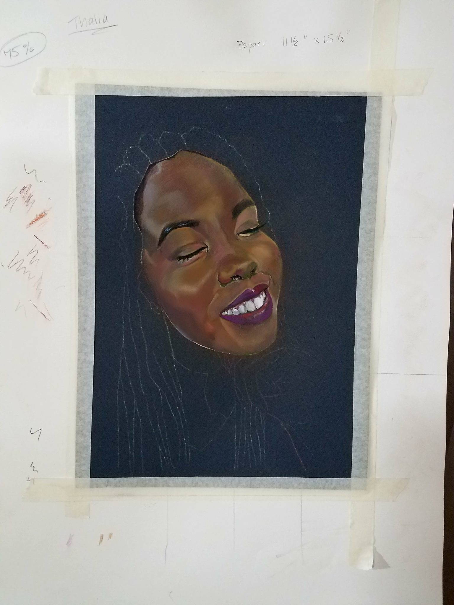 black woman pastels portrait WIP painting
