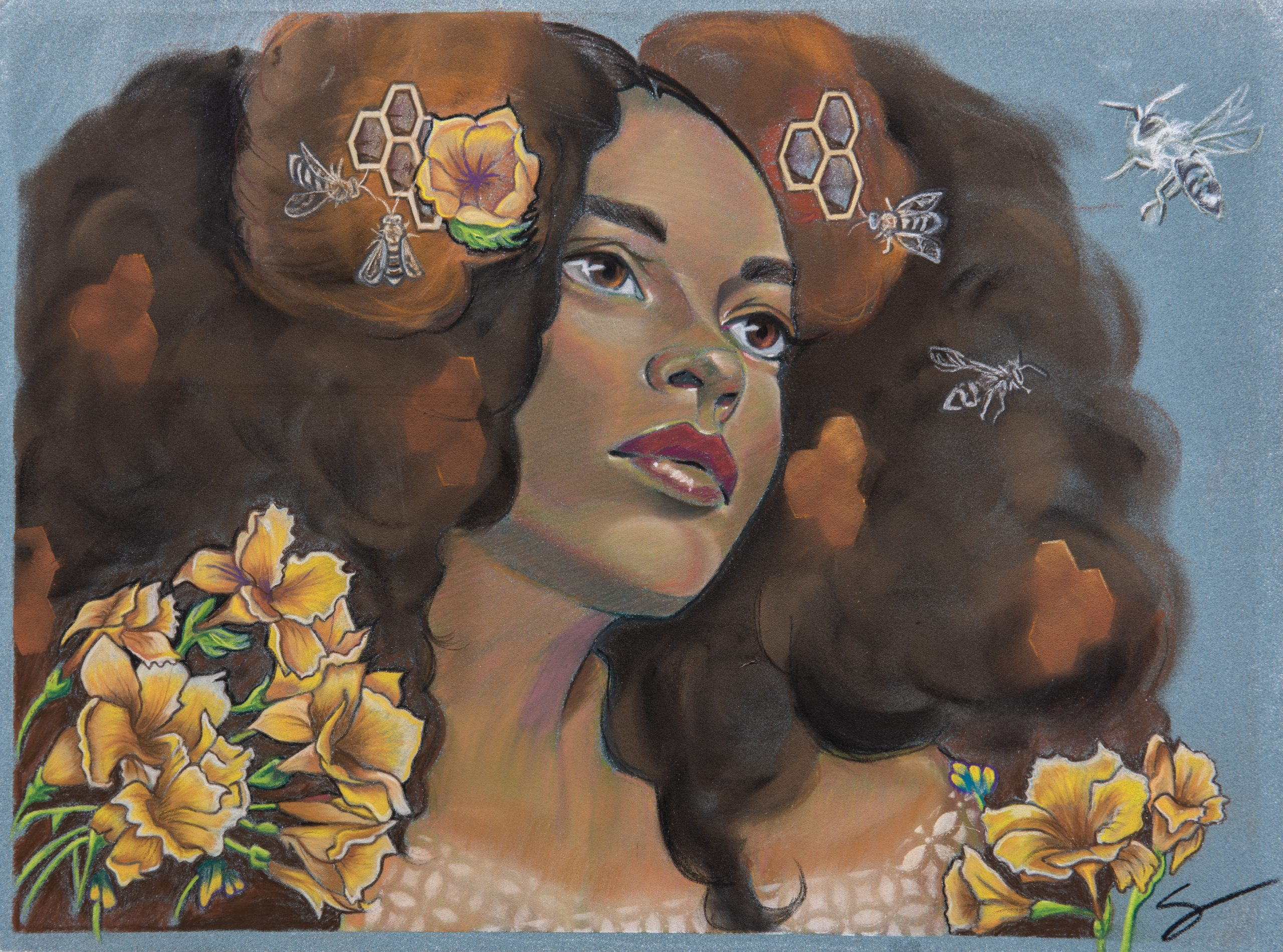 black woman portrait surreal bee bees hive afro puffs