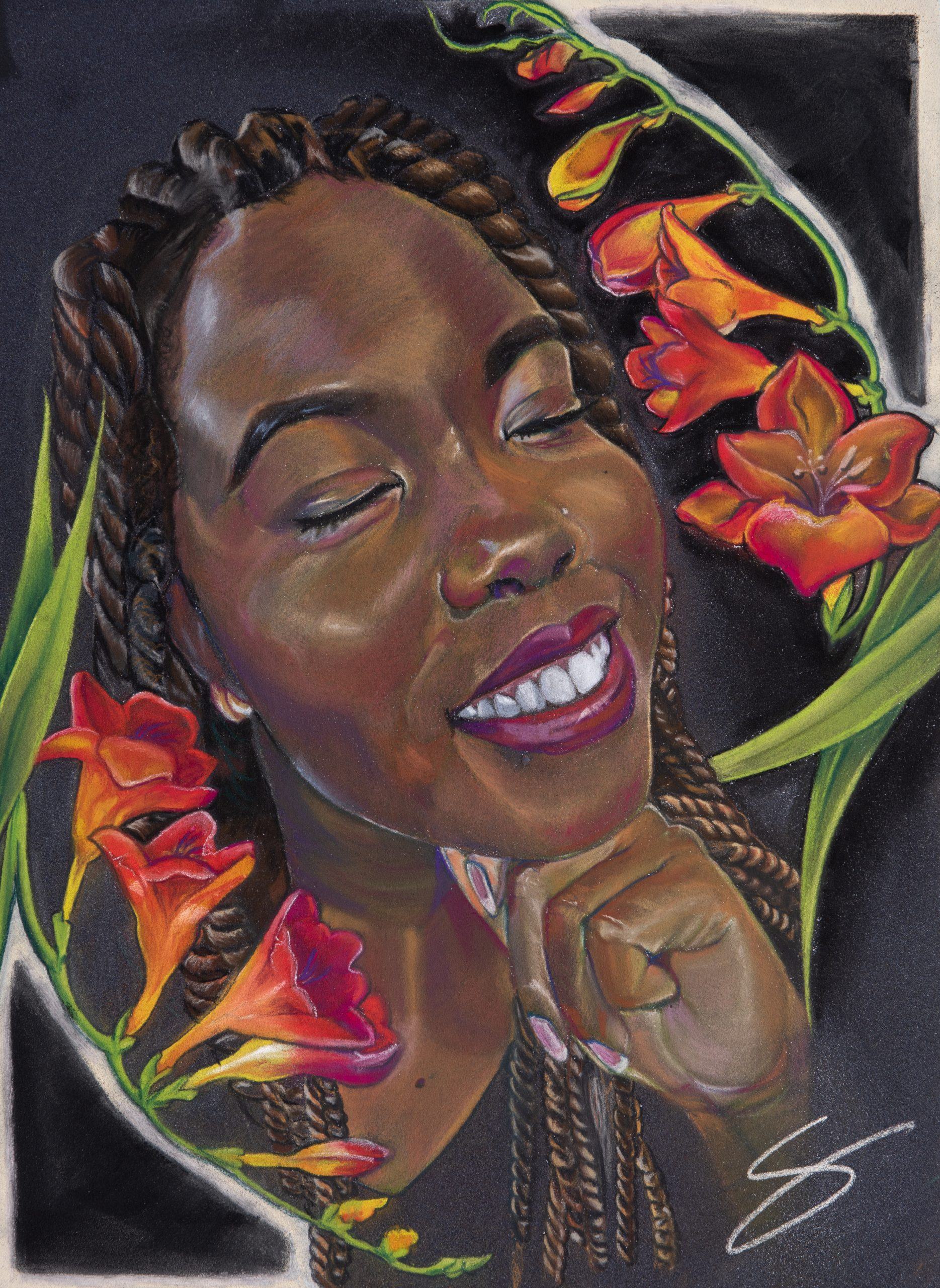 Black woman pastel portrait painting with red and yellow freesia flowers